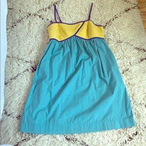 Anthropologie Color Block Spaghetti Strap Dress
